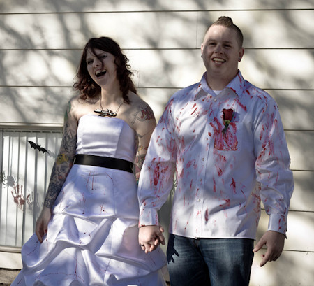 Blood Splattered Halloween Wedding Attire