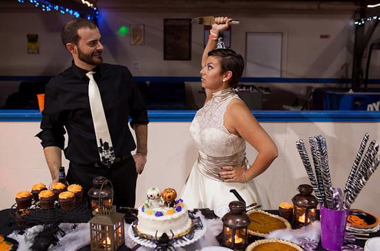 Halloween Wedding Bride Groom Photo