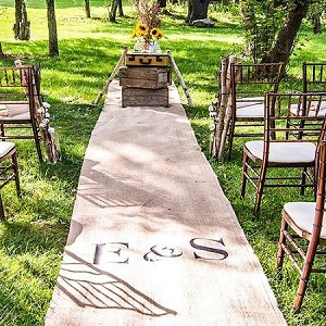 Burlap aisle for a woodland wedding