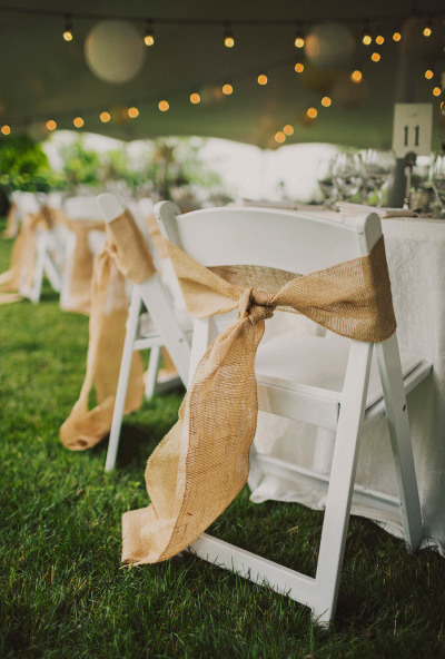 Burlap chair sashes for a Woodland theme Wedding