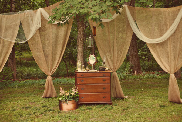 burlap curtains for a woodland wedding