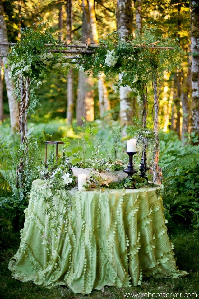 Whimsical Green table decor for a woodland wedding