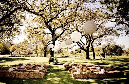 Hay bales for a woodland wedding seating