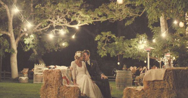 Hay bales for a woodland wedding