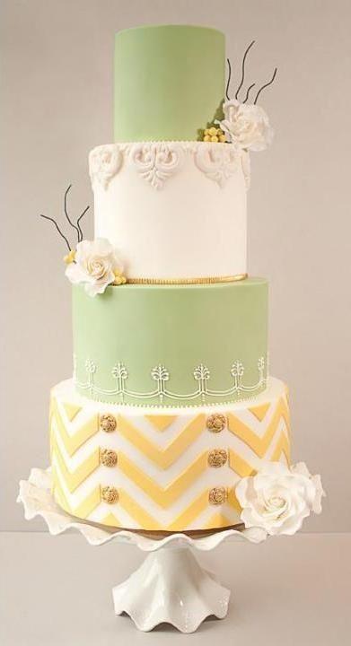 Green Beaded Wedding Cakes