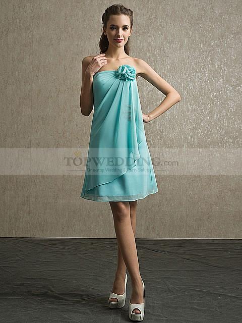Baby blue strapless summer dress
