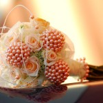 Peach Wedding Bouquet with Roses and Pearls