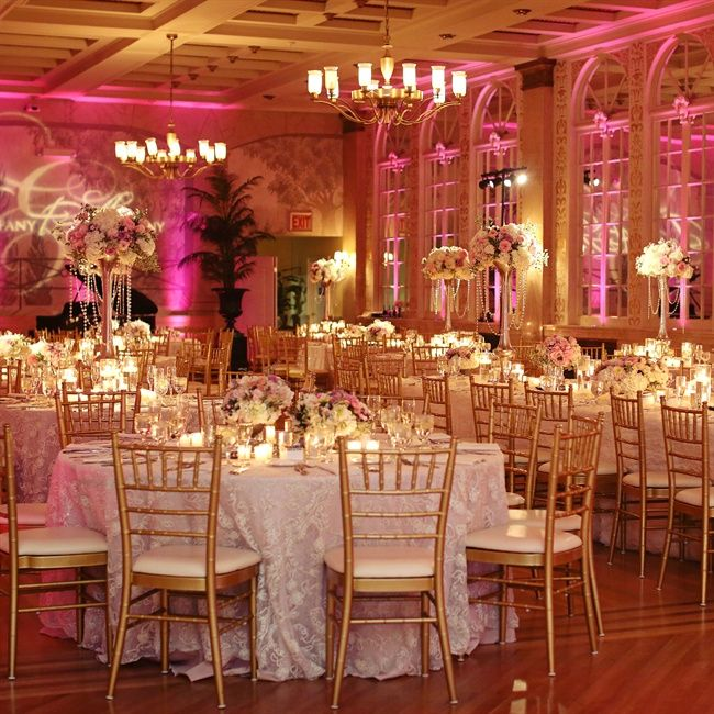 Pink And Gold Wedding Reception Decoration