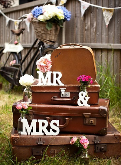 Top trending wedding themes for 20142015 knot for life vintage wedding decoration using antique luggage junglespirit Images
