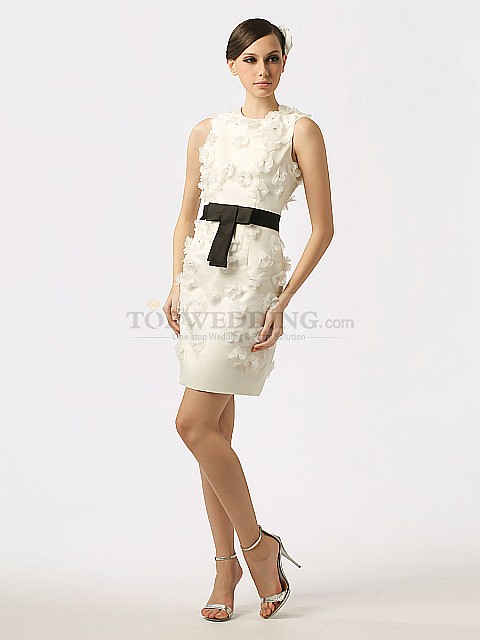 Short Wedding Dress with Black Sash