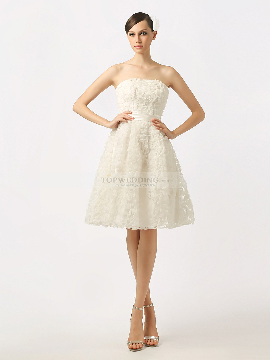 White strapless short wedding dress with 3D Rosettes