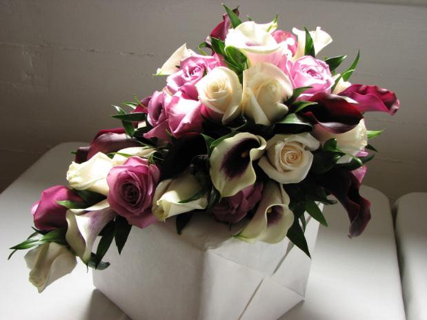 White purple cascading bouquet