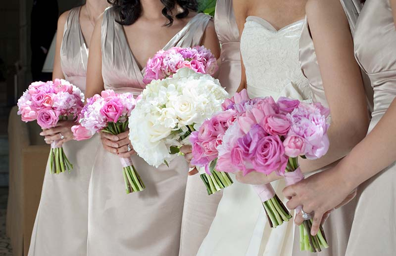 Bride and Bridesmaids with Purple Bouquets